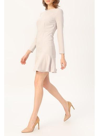 Random Kadın Volan Detaylı Uzun Kollu Elbise Gri